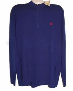 Fred Perry Blue Men Wool Sweater Shirt Size XL Retail $225 NEW #FredPerry #Polo
