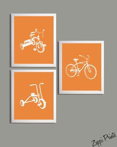 Nursery Art Orange Tricycles and Bicycle set of 3 by ZeppiPrints, $48.00