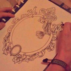 Ornate frame idea for a tattoo - Rococo theme Mirror Tattoos, Up Tattoos, Future Tattoos, Sleeve Tattoos, Cool Tattoos, Collar Tattoo, Woman Tattoos, Tattoo Sketches, Tattoo Drawings