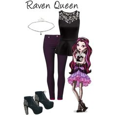 Raven Queen | Ever After High by dollsbythebay on Polyvore featuring H&M, even&odd, Jeffrey Campbell and Miss Selfridge