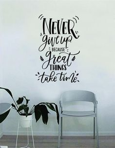 Never Give Up Quote Wall Decal Sticker Bedroom Home Room Art Vinyl Inspirational Decor Yoga Funny Namaste Funny Studio Good Vibes Happiness Smile Motivational Gym - wallquotes Drawing Quotes, Painting Quotes, Wall Painting Decor, Wall Art Decor, Wall Stickers Home Decor, Wall Decal Sticker, Vinyl Wall Decals, Black Wall Stickers, Doodle Quotes