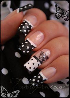 #nails #black #white