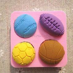 Sports Balls Silicone Fondant Cake Mould Decor Bake Sugarcraft Cupcake Mold