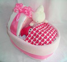 Pink BABY NAPPY CAKE crib cot blanket toy mini baby by CraftyMu