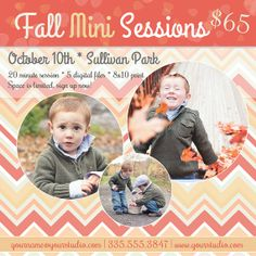 Fall Mini Session Flyer- Chevron print, autumn colors, fall leaves - Photography Template