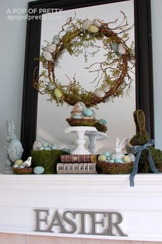 Easter Decorating Ideas: Mossy Bunny Easter Mantel | A Pop of Pretty: Canadian Decorating Blog | Finding the pretty in an every day home | Affordable home decor ideas tips tutorials inspiration |St Johns NL