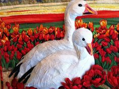 Tulips & Snow Geese by Betty J. Kincaid. La Conner Quilt & Textile Museum 2014 exhibit.