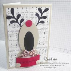Linda Parker UK Independent Stampin' Up! Demonstrator from Hampshire @ Papercraft With Crafty : Die Cut Rudloph the Red Nosed Reindeer - A Little Humorous Card making Merry Music ! Homemade Christmas Cards, Noel Christmas, Handmade Christmas, Homemade Cards, Christmas Crafts, Xmas Cards To Make, Winter Cards, Holiday Cards, Stampin Up Weihnachten