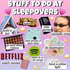 things to do at a sleepover Dress Stores For Tweens Birthday Sleepover Ideas, Sleepover Party Games, Teen Sleepover, Sleepover Activities, Birthday Party For Teens, Slumber Parties, Cool Sleepover Ideas, Friend Activities, 14th Birthday