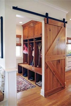 Oh how I LOVE sliding barn doors in the house! Such a warm and beautiful look in my favorite rustic farmhouse style! If you're also looking for DIY sliding barn … Laundry Room Diy, Home, Room Doors, Mudroom Design, Doors Interior, Diy Door, Barn Doors Sliding, Laundry Room Doors, Garage Door Types