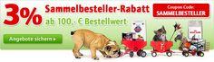 Tyske side, sammelbesteller kode v. køb over 100 euro så 3% i rabat