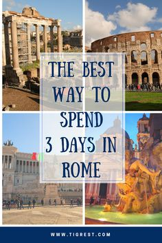Welcome to our proposed plan for your unique 3 Days Rome Itinerary! Day One: Walking tour - Fountains, Churches, Spanish Steps, Castel Sant'Angelo. Day Two: Colosseum, Palatine Hill, Roman Forum. Day Three: Vatican Museum and Trastevere district. Everything you should know before you come to Rome!