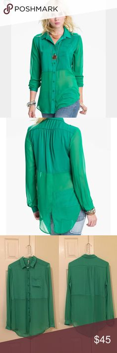 """Free People split back sheer panel Tunic Free People's """"best of both worlds"""" mint julep color. Beautiful used condition. This is a gorgeous twist on a your traditional button down. The bottom half has a sheer panel and the back has a cute drapey split. Buttons all the way down. One pocket. True color reflected in stock photo. Free People Tops Blouses"""