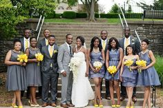 Bridesmaids in grey with yellow accessories - perfect (I wouldn't have chosen brown shoes for the groomsmen though - perhaps grey or black shoes)