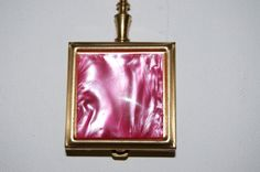 Vintage Pill Box / Purse Ashtray with Metallic Pink Pearlized Design, Gold Trim and Handle - by TKelley Collection (Etsy)