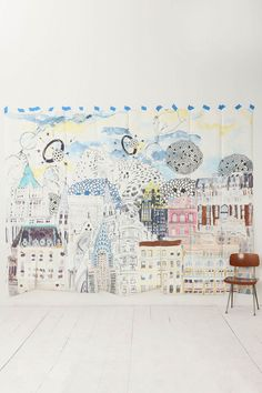 dreamscap mural, wall murals, dreamscape, anthropologie, kid rooms, wallpapers, kids, homes, home offices