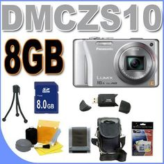 Panasonic Lumix DMC-ZS10 14.1 MP Digital Camera with 16x Wide Angle Optical Image Stabilized Zoom and Built-In GPS Function (Silver) Accessory Saver 8GB Bundle by Panasonic. $304.49. This Kit Includes: 1- Panasonic Lumix DMC-ZS10 14.1 MP Digital Camera (Silver) Brand New w/Supplied Manufacturer Accessories 1- 8GB SDHC Secure Digital Memory Card (Dont Miss a Memory!) 1- USB SD Memory Card Reader (Download Images Quicker!) 1- Padded Carrying Case w/Strap (Protect Your In...