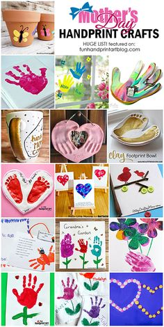 HANDmade Gifts from Kids for Mother's Day that incorporate little prints of their hands & feet ♥