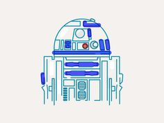 R2D2 illustration #starwars #illustration #c3po #line #graphicdesign