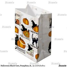 Halloween Black Cats, Pumpkins, & Witch's Hats #5 Medium Gift Bag