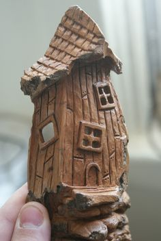 Whimsical Cottonwood House Carving Fairy House by RiverOtterRustic, Learn Woodworking, Popular Woodworking, Woodworking Projects, Wood Craft Patterns, Wood Bark, Wood Carving Designs, Wooden Statues, Gnome House, Fairy Garden Houses