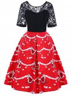 878bef88cf9 Christmas Lace Yoke Swing Dress - Black And Red Xl
