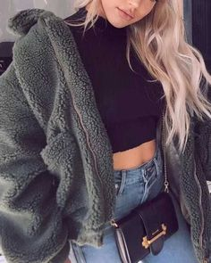 winter jackets for women fur coats warm fuzzy teddy jacket faux fur clothes outfit Fall Winter Outfits, Autumn Winter Fashion, Spring Outfits, Trendy Outfits, Cute Outfits, Fashion Outfits, Fashion Women, Winter Wear, Fall Fashion