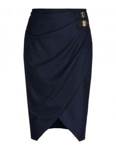 Altuzarra Navy Wrap Skirt - Shop more from the designer's new Fall collection at #ShopBAZAAR: http://shop.harpersbazaar.com/designers/altuzarra/