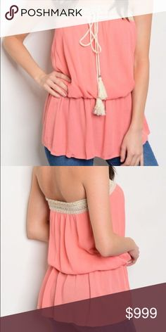 🌺MOTHER'S DAY SALE🌺Coral tassel top In LOVE with this top! 100% rayon strapless. Festival boho Tops