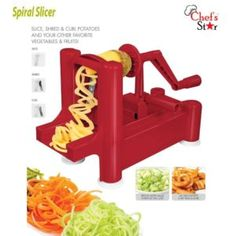 Big Boss Red Slice-a-Roo Vegetable Spiralizer Vegetable Shredder, Spiral Vegetable Slicer, Best Spiralizer, Vegetable Spiralizer, Digital Pressure Cooker, Donut Maker, Food Chopper, Spiral Shape, Plastic Trays