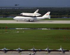 The newest addition to NASA's space shuttle fleet, Endeavour, arrives at the Kennedy Space Center in Florida atop the 747 Shuttle Carrier Aircraft on May 7, 1991.