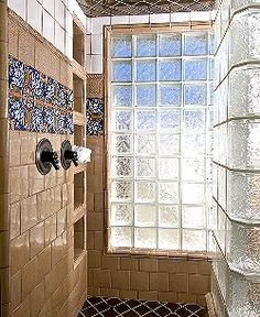 A basement bathroom idea glass block wall to make for Glass block window design ideas