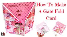 Hi everyone, today I have this pretty Gate Fold card using the products from the February Hobbybase Kit. This is a Gate Fold card with a twist as I've folded down the corners to give it a dif… Card Making Kits, Card Making Tutorials, Card Making Techniques, Making Ideas, Fancy Fold Cards, Folded Cards, Pop Up Cards, Card Kit, Creative Cards