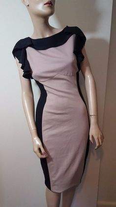 Ted Baker Size 2 UK 10 12 Bodycon Black Nude Beige Cream Wiggle Low Back Dress #TedBaker #StretchBodycon #Party