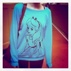 There are 2 tips to buy sweater, clothes, alice in wonderland, blue. Disney Shirts, Disney Outfits, Sweater Outfits, Sweater Shirt, Disney Style, Sweater Weather, Hoodies, Sweatshirts, Alice In Wonderland
