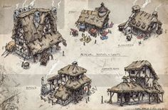 Medieval Shops + Houses, Gabe Kralik on ArtStation at https://www.artstation.com/artwork/medieval-shops-houses