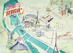 Map of Riga old town watercolour Pinterest Riga