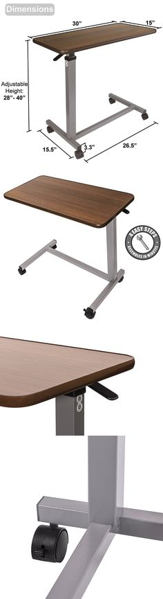 Bed And Chair Tables: Hospital Medical Adjustable Overbed Bedside Table  With Wheels Tray Rolling New