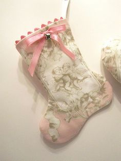 Pink Toile Angel Mini Stocking and other unique hand sewn ornaments at my shop. xmasmuse.etsy.com