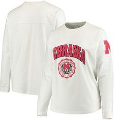 Nebraska Cornhuskers Women's Plus Size Edith Long Sleeve T-Shirt - White