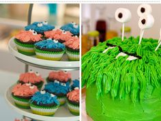 Monster birthday cake and cupcakes!  Marshmallow eyes