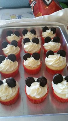 Easy Mickey Mouse cupcakes for a birthday party! I guess I did okay because my 3 year old knew exactly what they were!