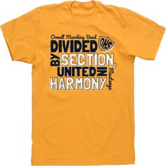 Divided By Section, United IN Harmony Band Tshirts High School Tees Custom Tshirts