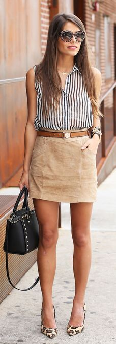 Mango Earth High Waisted Suede Mini Skirt by Seams For a Desire