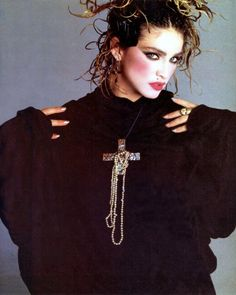 Young Madonna with super heavy blush, almost looks like kabuki makeup