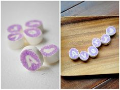 """How cute is this! Marshmallow """"name"""" place cards...."""