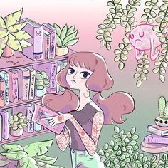 """Library ghost traditional lineart + digital coloring! ✨ video on this piece will be available tomorrow morning in my channel! Search """"Ree artwork"""" on youtube~ #reeartwork #digitalart #mixedmediaart"""