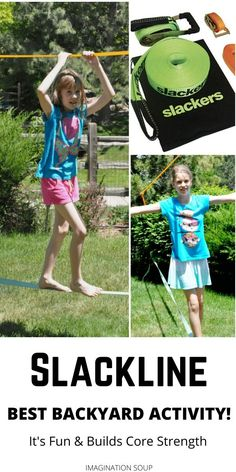 A slackline for kids is so much FUN and is our favorite backyard activity for months and months and months. (And still going strong! Learning Apps, Kids Learning, Games For Kids, Activities For Kids, Book Reviews For Kids, Nature Activities, Gross Motor Skills, Educational Games, Nature Crafts