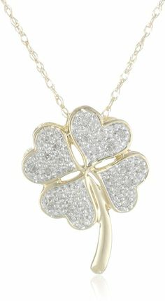 XPY 10k Yellow Gold Diamond Four Leaf Clover Pendant Necklace (.06 cttw, I-J Color, I3 Clarity), 18""