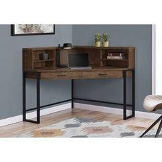 Corner Desk With Hutch, Corner Writing Desk, Desk Hutch, Home Office Desks, Home Office Furniture, Furniture Deals, Brown Furniture, Welded Furniture, New Interior Design